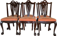 17317  Set of 6 Mahogany Carved Ball and Claw Chairs by Horner