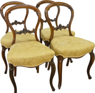 17297 Set of 4 Rosewood Carved Victorian Chairs