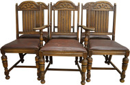 SOLD Antique Set of 6 Oak Carved Dining Chairs