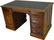 17213 Victorian Walnut Raised Panel Flat Top Desk