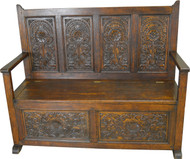 SOLD Oak Carved Hall Bench