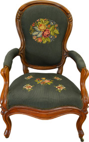 17303 Victorian Gentlemen's Carved Arm Chair with Needlepoint Seat & Back