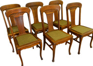 17360 Set of 6 Oak Carved Dining Chairs