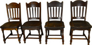 17361 Set of 4 Oak Stylish Stout Dining Chairs