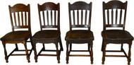 SOLD Set of 4 Oak Stylish Stout Dining Chairs