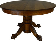 17398 Round Oak Claw Foot Dining Table 45 Inch