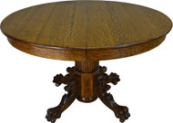 17403 Round Oak Lion Head and Claw Foot Dining Table with 2 Leaves