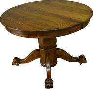 17405 Round Oak Claw Foot Dining Table with 2 Leaves