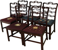 17367 Set of 6 Mahogany Chippendale Ribbon Back Chairs