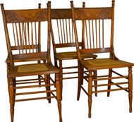 17400 Set of 4 Antique Oak Pressback Dining Chairs