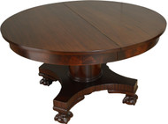 17281 Round Mahogany Ball and Claw Dining Table Banquet - 10 Feet Long