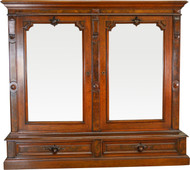 17304 Victorian Step Back Burl Walnut Bookcase - Civil War