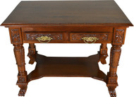 17305 Carved Victorian Walnut Writing Desk Library Table