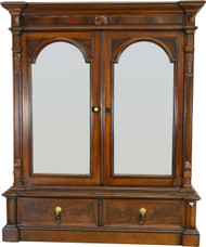 17343 Victorian Walnut Step Back Two Door Bookcase – Civil War