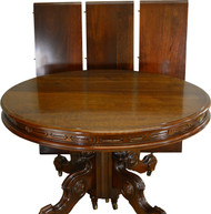 17432 Victorian Round Walnut Dining Table w/ Carved Skirt Split Base 3 Leaves