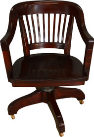 SOLD Mahogany Lawyer's Banker's Swivel and Tilt Office Chair