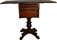 17446 Empire Drop Leaf Work Table Acanthus Carved