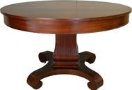 "17452 Round Mahogany Empire Dining Table 48"" Banquet Length"