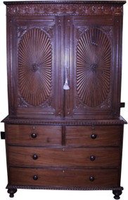 18267 Rosewood Period Linen Chest Cupboard Heavily Carved