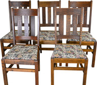 17414 Set of 5 Oak Mission Dining Chairs