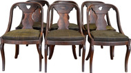 17448 Set of 6 Period Pre-Civil War Empire Dining Chairs