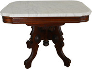 17494 Victorian Burl Walnut Marble Top Coffee Table