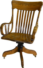 17454 Victorian Oak Rolled Arm Bankers Lawyers Office Chair