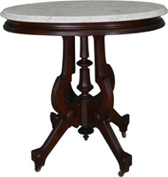 17551 Victorian Oval Marble Top Walnut Parlor Stand