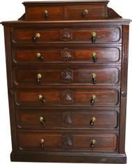 17563 Victorian Burl Walnut Lock Side Gentleman's Chest