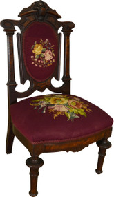 17570 Victorian Needlepoint Ladies Slipper Chair
