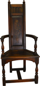 17573 Walnut Decorated Throne Chair by Kittinger
