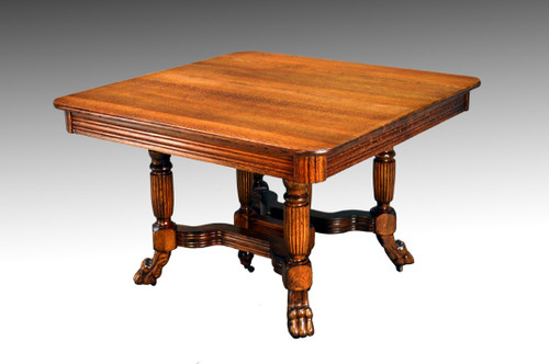 Sold Antique Square Oak Claw Foot Dining Table With Two