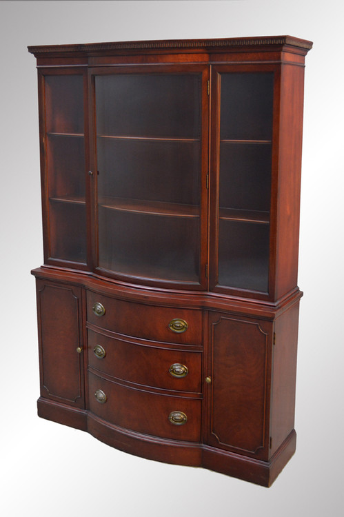 SOLD Mahogany Duncan Phyfe Curved Glass Breakfront China