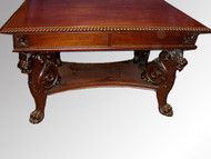 SOLD Mahogany Carved Griffin Library Table Possibly R.J. Horner
