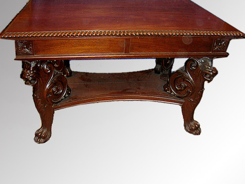 Image 1 - SOLD Mahogany Carved Griffin Library Table Possibly R.J. Horner