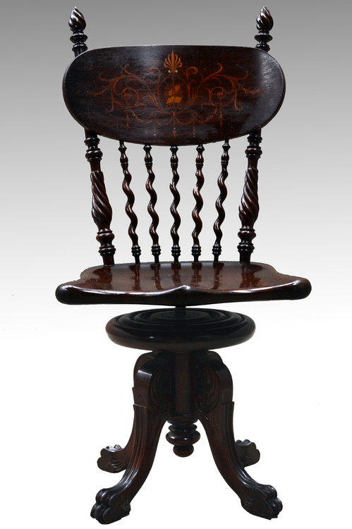 Image 1 - SOLD Victorian Inlaid Piano Chair Ladies Desk Chair - Maine Antique