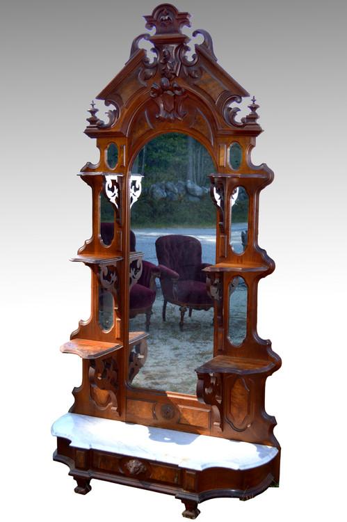 Sold Victorian Civil War Walnut Marble Top 201 Tag 232 Re 1860s