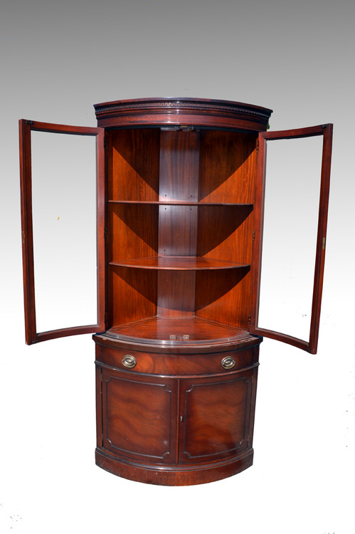 Sold Mahogany Corner Curved Glass China Closet By Drexel