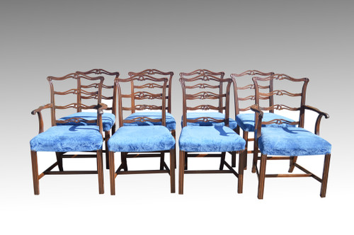 Image 1  sc 1 st  Maine Antique Furniture & SOLD Set of 8 Chippendale Ribbon Back Dining Chairs - Twin Arms ...