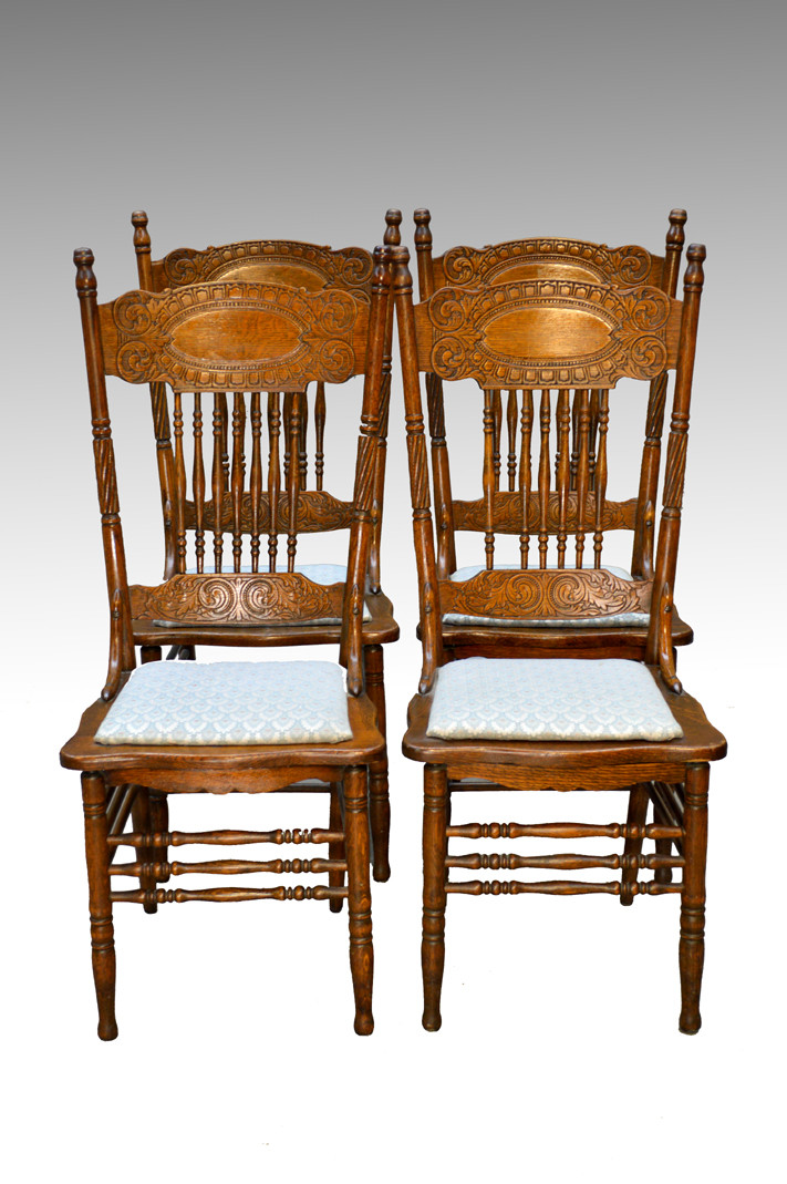 ... Press Back Chairs. Image 1 - SOLD Antique Set Of 4 Larkin #1 Press Back Chairs - Maine Antique