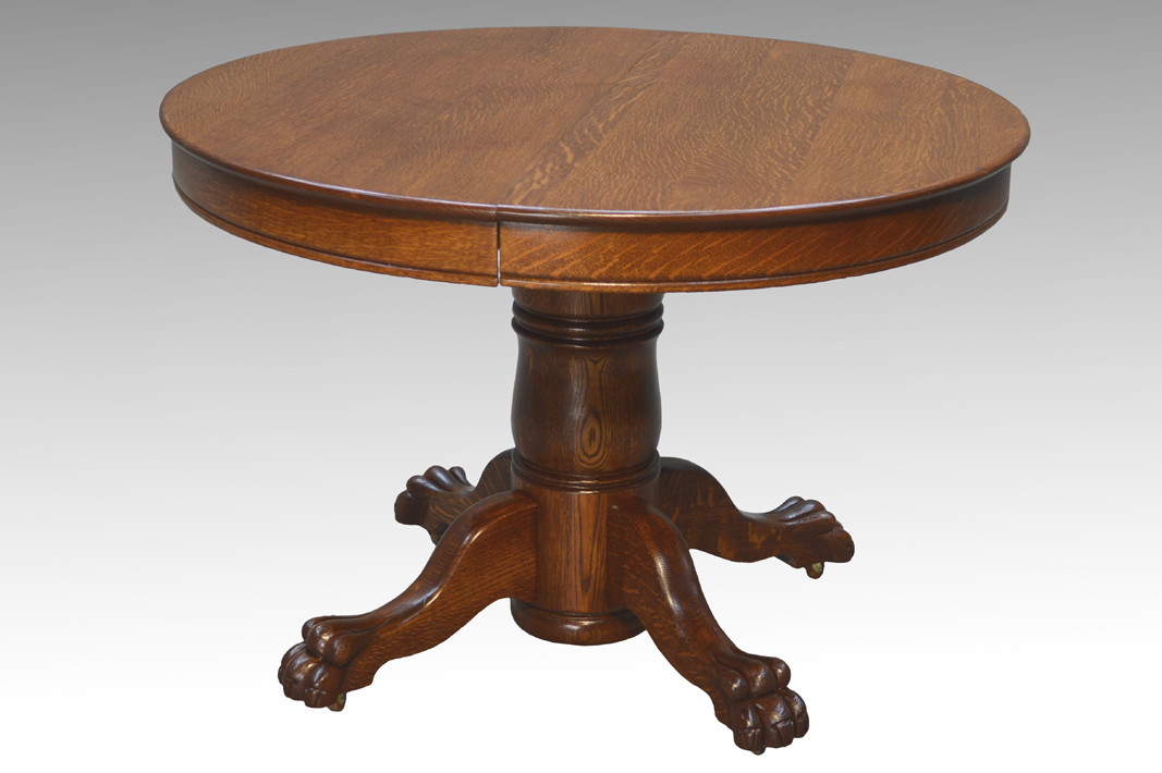 Image 1 - SOLD Antique Victorian Round Oak Claw Foot Dining Table - Maine