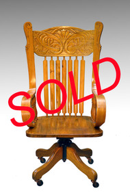 SOLD  Antique Victorian Carved Lawyer's Banker's Office Chair