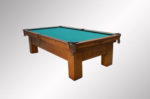 SOLD Antique Brunswick Quarter Sawn Oak Inlaid Pool Billiard Table - Brunswick oak pool table