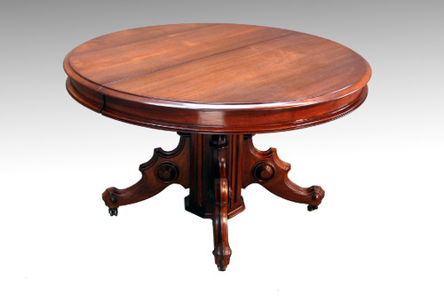 Image 1 - SOLD Antique Victorian Round Walnut Banquet Table - Maine Antique