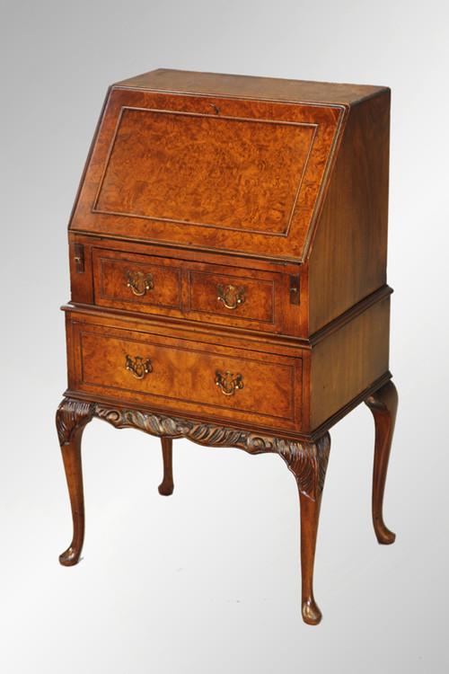 Image 1 - SOLD Antique Burl Walnut Petite Slant Top Ladies Desk - Maine