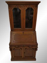 19525 Antique Victorian Civil War Era Walnut Secretary Desk