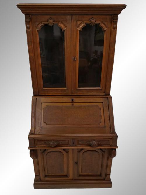 Image 1 - 19525 Antique Victorian Civil War Era Walnut Secretary Desk - Maine