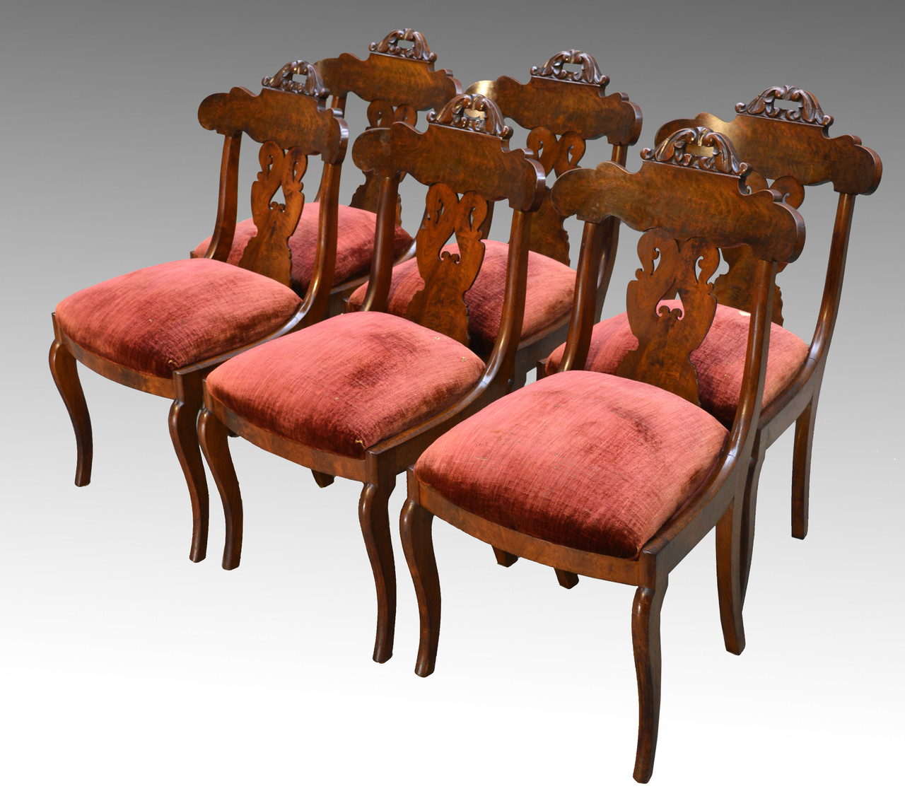 Image 1 - SOLD Antique Set Of 6 Period Empire Civil War Era Dining Chairs