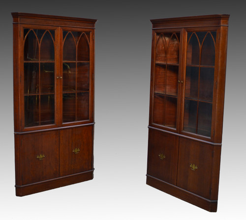 sold pair of mahogany formal duncan phyfe corner cabinets 11899