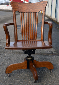 SOLD Tiger oak Lawyer's Curved Back Office Chair - Maine ...